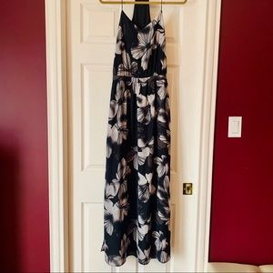 RW&Co Black Graphic Floral Maxi Dress, size small
